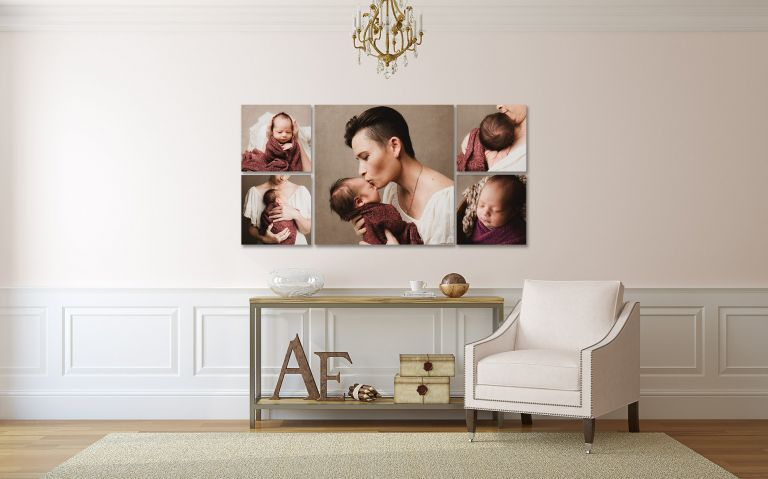 Perth Newborn Photographer contemporary wall display of newborn images